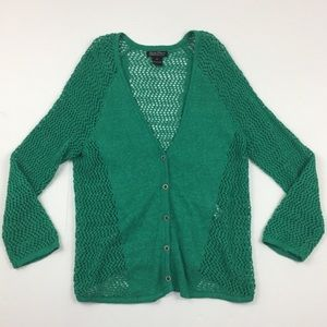 LUCKY BRAND Green Knit Cardigan Sweater